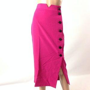 New Asos Women's Midi Skirt Button Down Pink Sz 8
